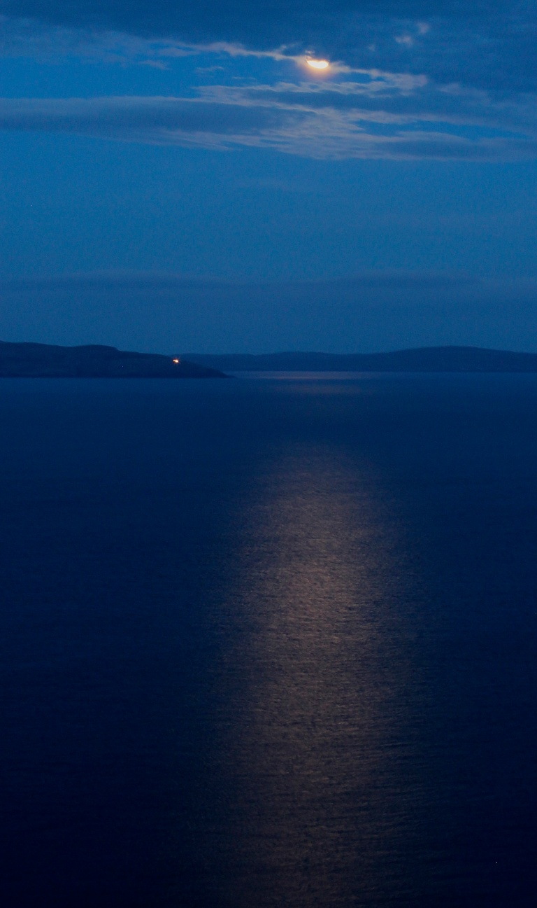 Moon Shimmers on Sea (Vertical)