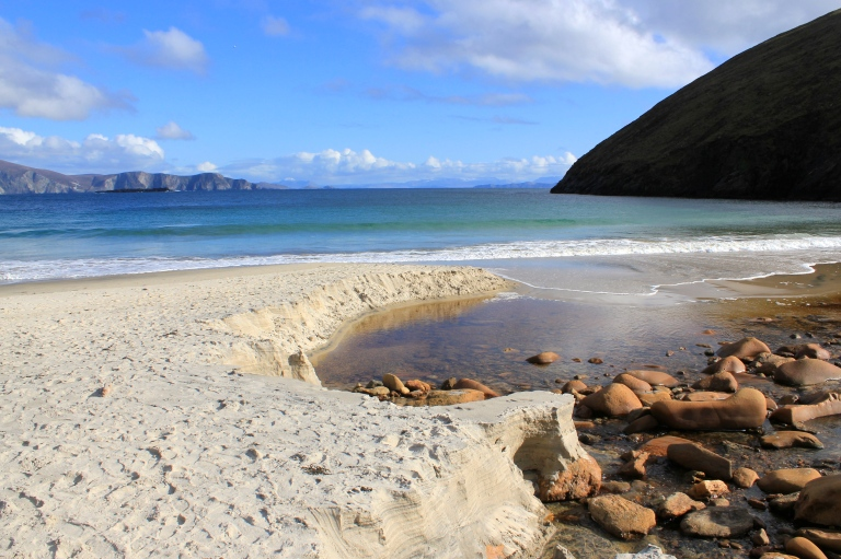 Keem Strand at the end of Achill Island, County Mayo. And yes its sand is a soft and fine as it looks in the picture.