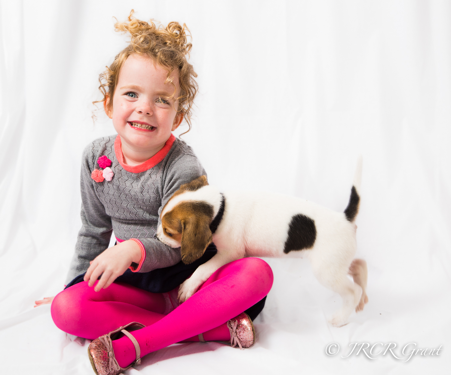 Girl and Beagle Puppy