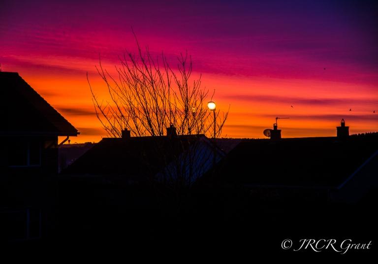 Dawn sunrise over Cork Rooftops