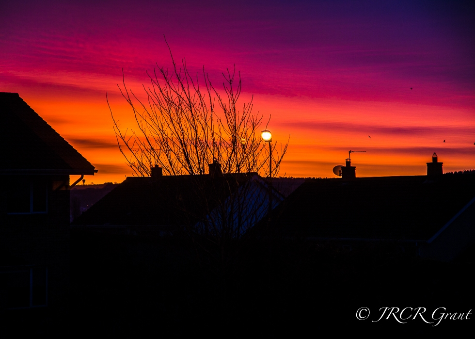 Dawn sunrise over Cork Rooftops