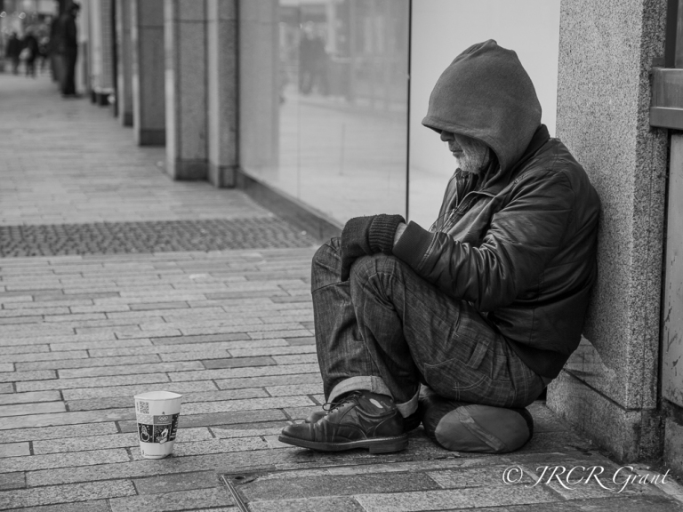 Homeless person on the streets of Cork City