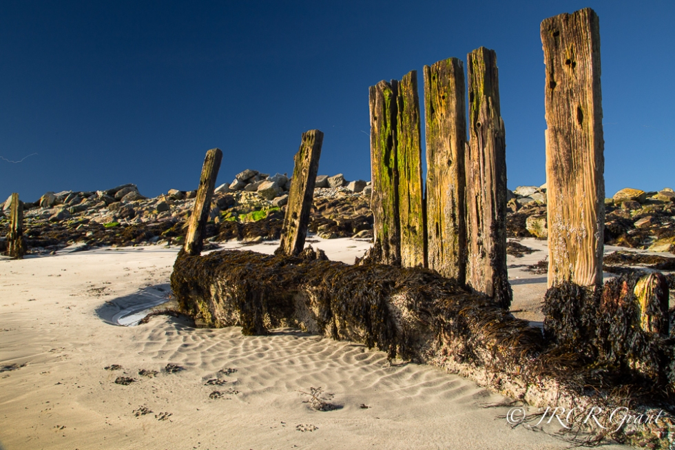 Old Wooden pillars on a West Cork Beach