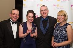 Marion, Jerry Buttimer TD, PJ Coogan (DJ at 96FM) and Grace with award