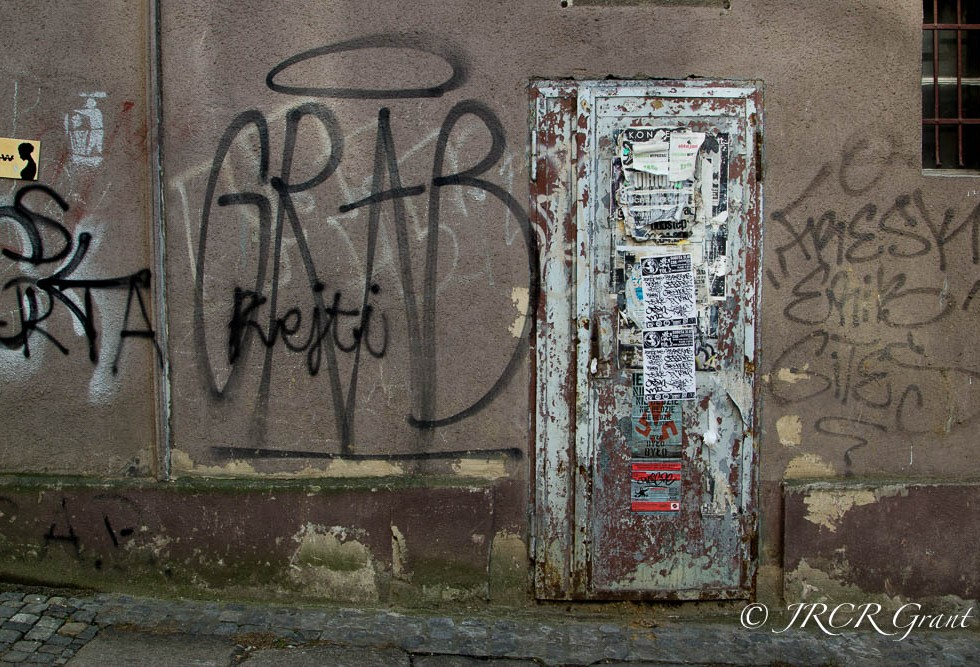 Another wall in Wroclaw, daubed in graffiti