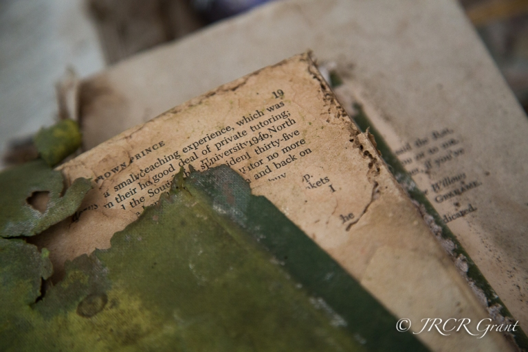 An old book, green cover coming off, found in an abandoned house in Ireland.