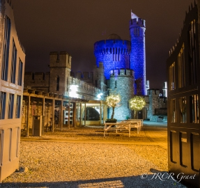 Gates to Blackrock Castle are opened to reveal the blue of its Tower, support for Light it up Blue Autism Day