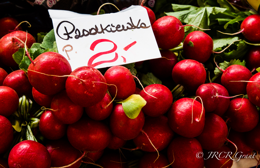 Radishes for sale in Wroclaw Market