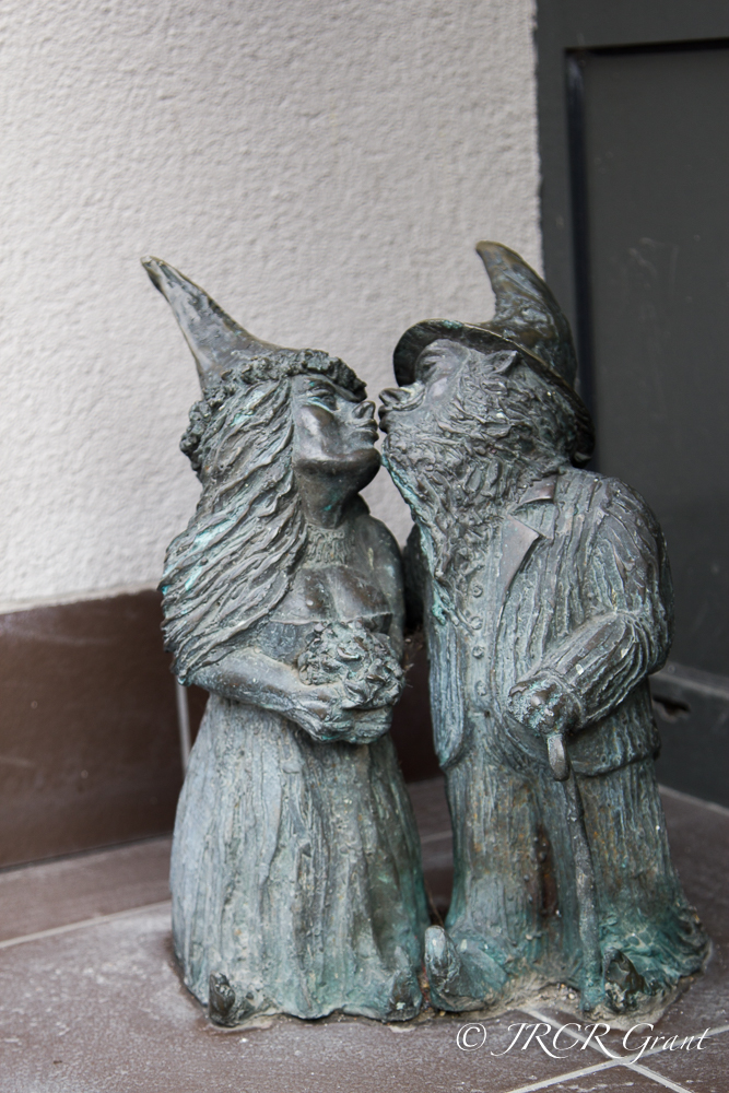 The newly wed gnomes outside the registry office, Wroclaw