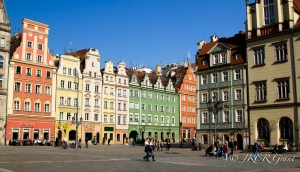 Multi-coloured houses on The Rynek, Wroclaw