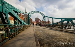 Tumski Bridge leading to Cathedral Island, Wroclaw, Poland