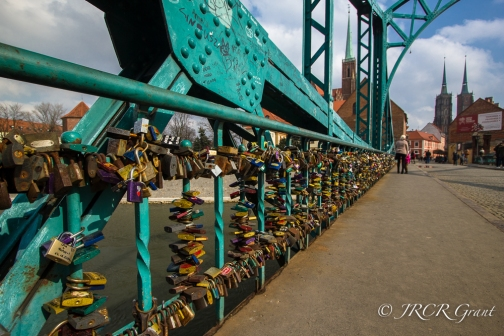 Padlocks on Tumski Bridge leading the way to the Cathedral