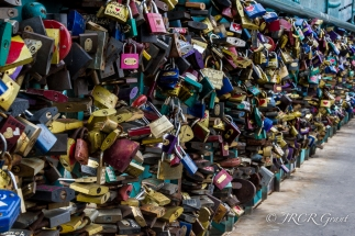 Padlocks weigh down Tumski Bridge in Wroclaw, Poland