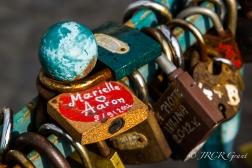 The padlock of Marielle and Aaron, a reminder of love on Tumski Bridge, Wroclaw, Poland