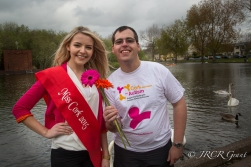 Richard says thanks to Miss Cork 2015, Gillian Forde, for helping to launch CAA's Flag Day Appeal.