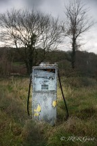 On a grey day an old petrol pump stnads decaying, overshadowed by a large skeleton of a tree and rooted in wild grass. Even the day is grey.