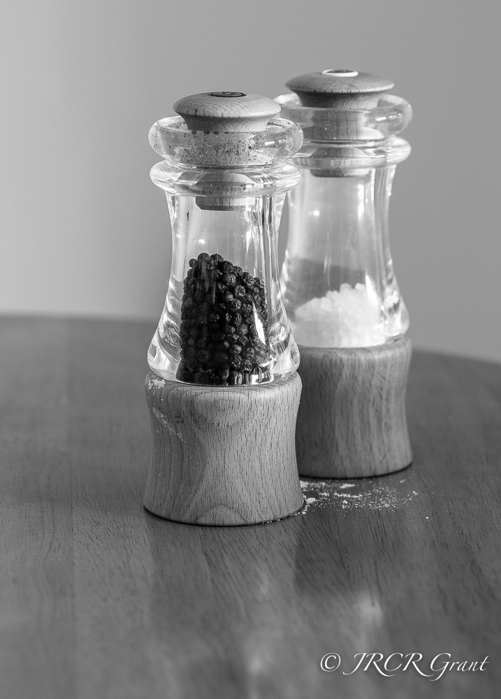 A salt and pepper cruit set, all ready to grind an essential dinner ingredient