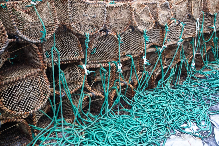 Lobster pots with lines hanging down