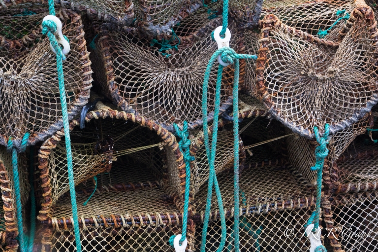 A row of lobster pots lie dormant on Whiddy Island