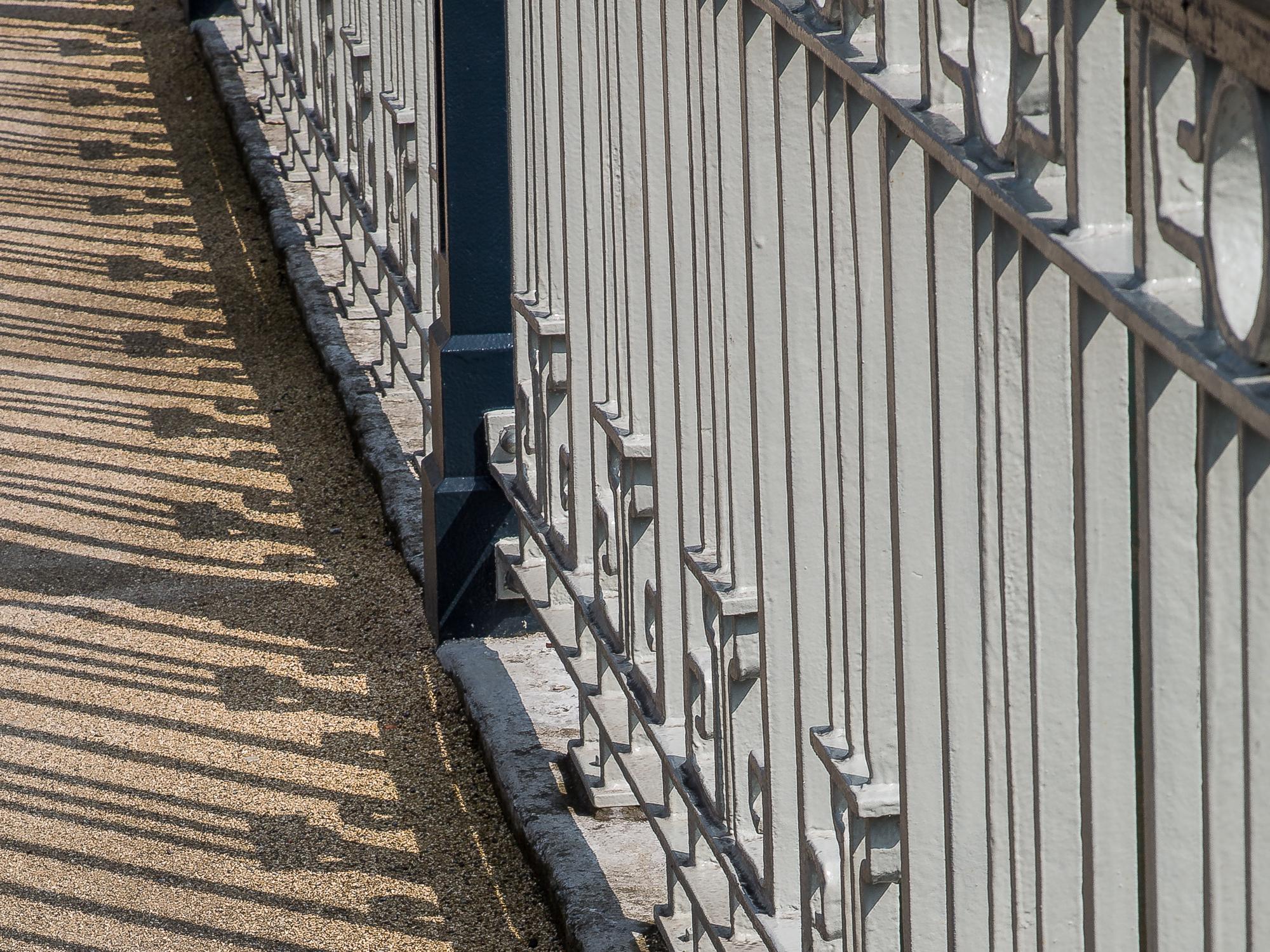 The railings of Brian Boru Bridge and their shadows make an interesting composition, Cork City Centre