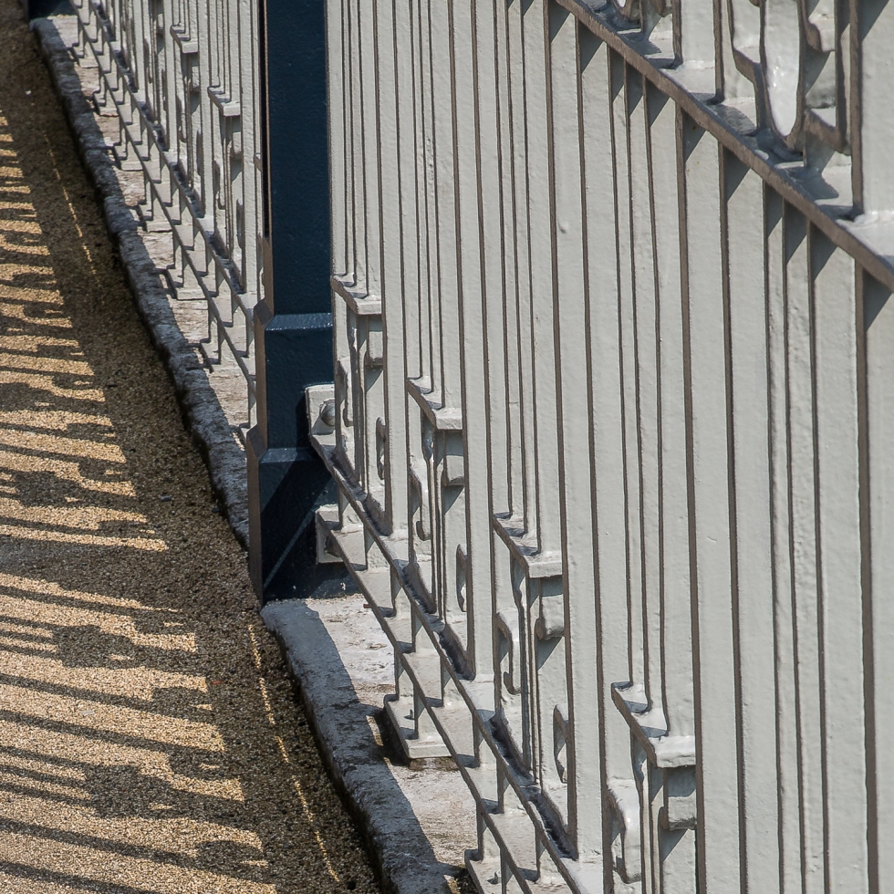 The railings of Brian Boru Bridge and their shadows make an interesting composition, Cork City Centre