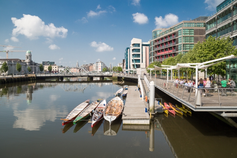 Cork City river boardwalk and skyline of development