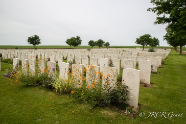 Headstones on the Somme at Ovillers la Boiselle, France