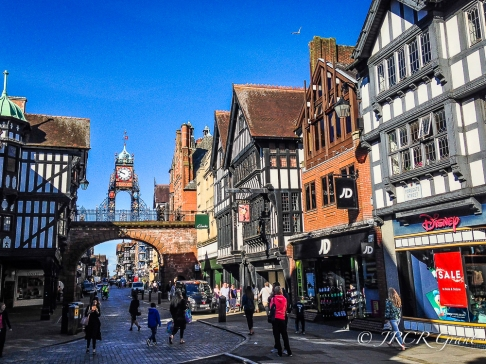 Foregate and East Gate streets in Chester, Cheshire