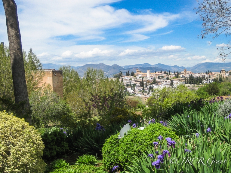 Gardens of the Generalife and views of Granada
