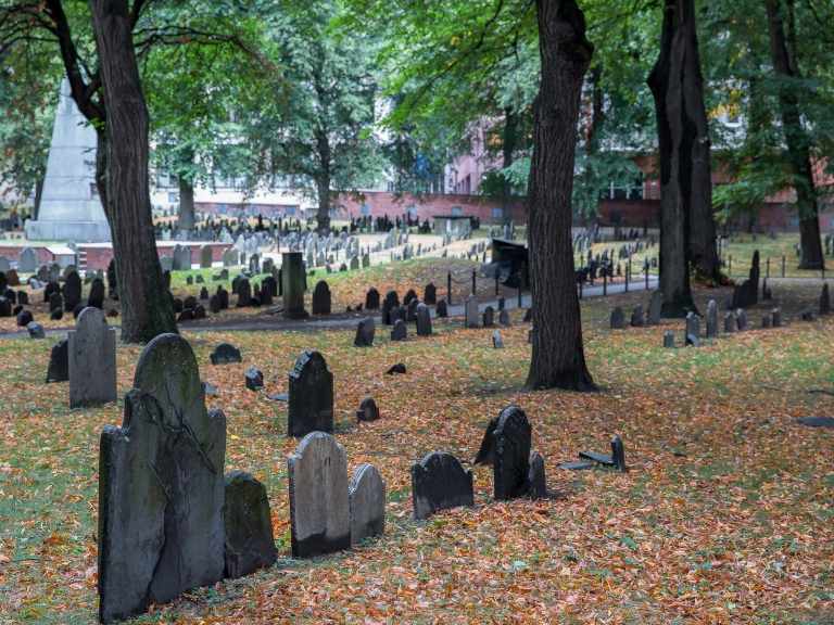 Granary Burial Ground with a carpet of russet leaves (Boston)