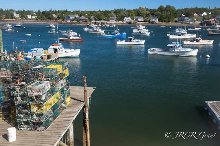 View of fishing dock and Basss Harbor, Tremont, Maine, USA