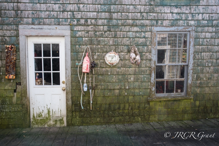The working side of the fishing hut, Maine