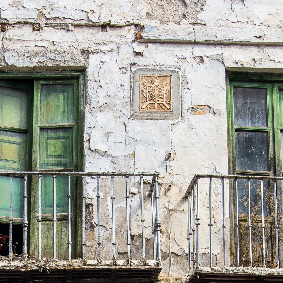 An old facade of a house in the centre of Lanjarón, Las Alpujarras, Spain