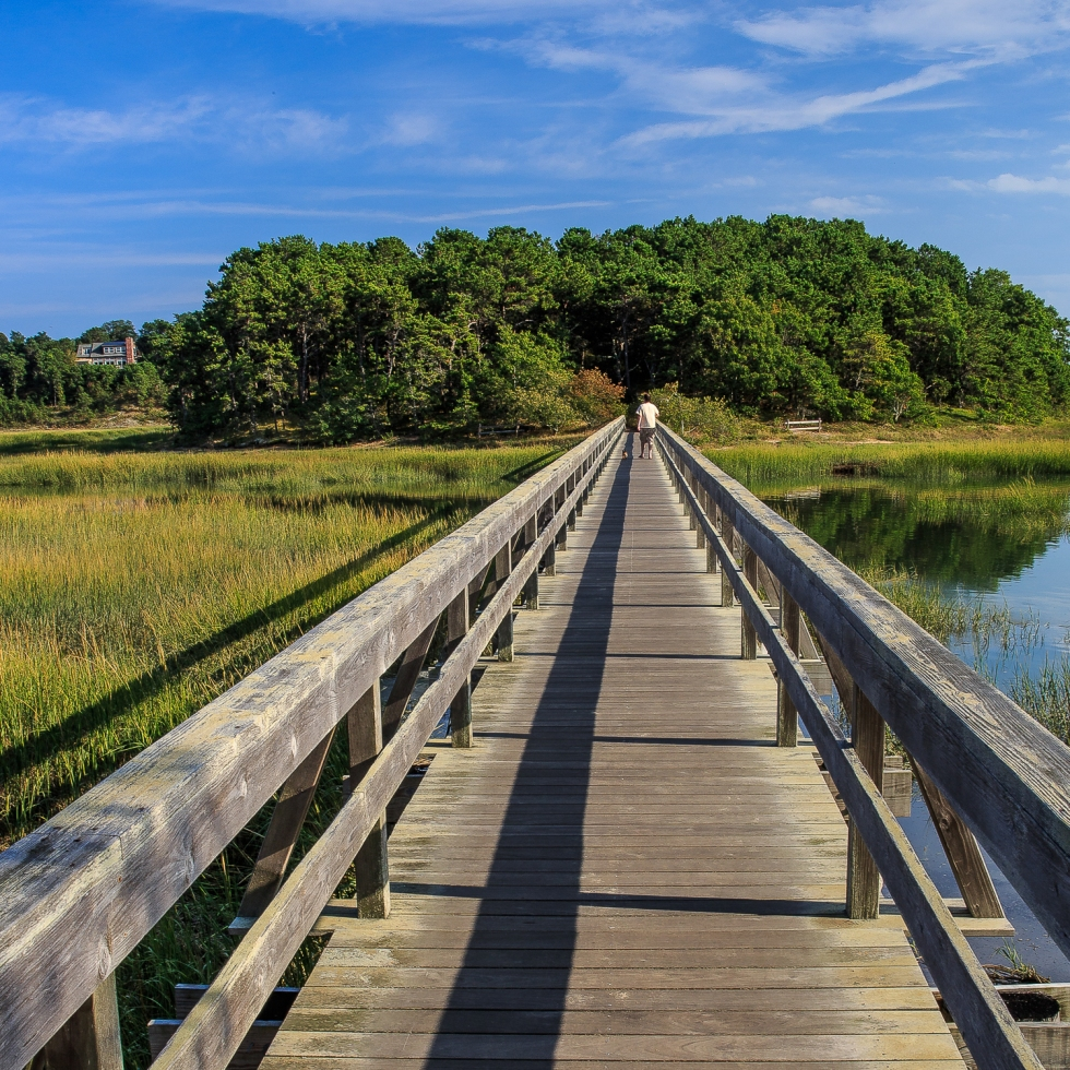 A wooden pedestrian bridge at Wellfleet, Cape Cod