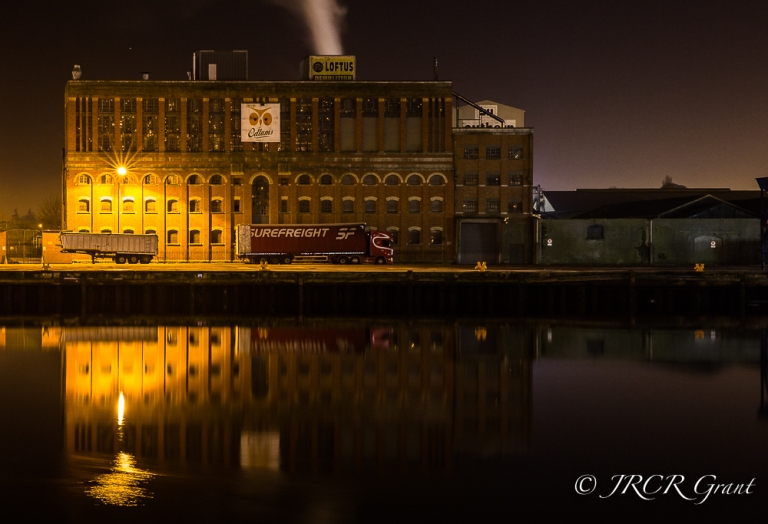 The old Odlums building lit at night