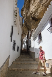 Stairs lead up a walkway in Setenil de las Bodegas
