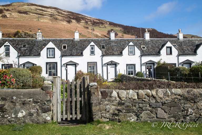 Whitewashed row of Fishermen's cottages, Isle of Arran