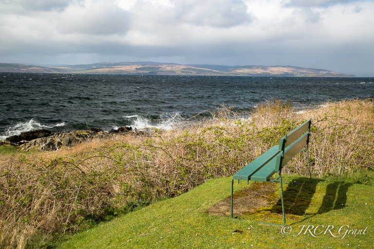 A bench set for a view of Kintyre, Scotland