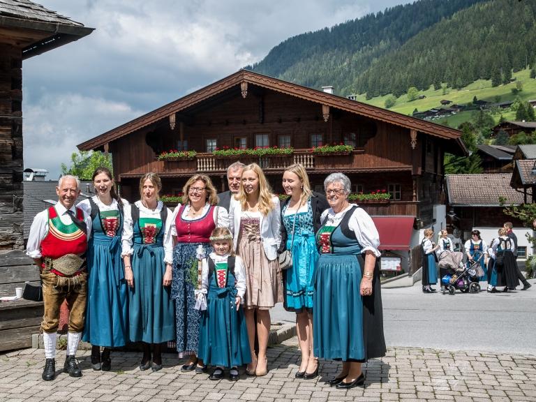 An Austrian family in Alpbach, Tyrol, Austria