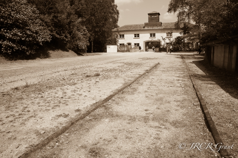Entrance to Dachau Concentration camp in sepia