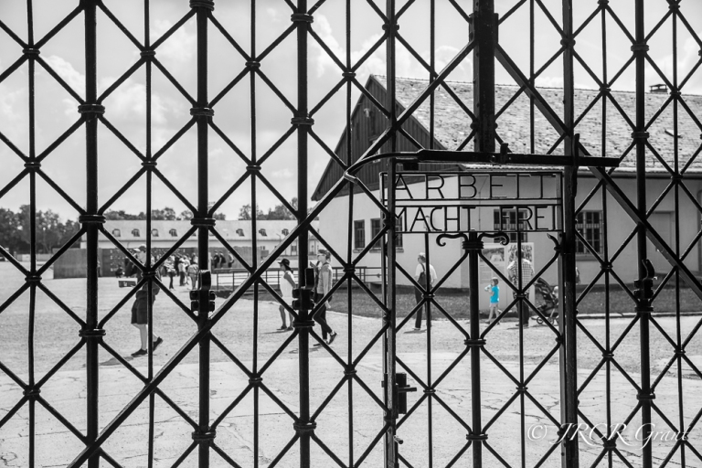 Young and old explore the site of Dachau, Germany