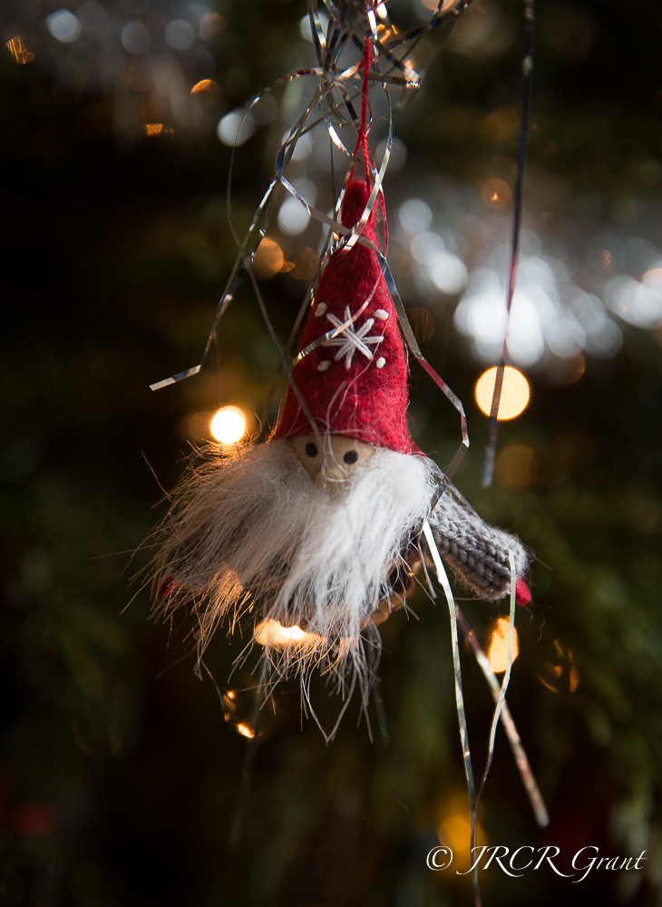 A simple German Goblin hangs by a thread from the Christmas tree