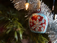 A bell for sheep and goats from Spain serves as a pretty Christmas tree ornament