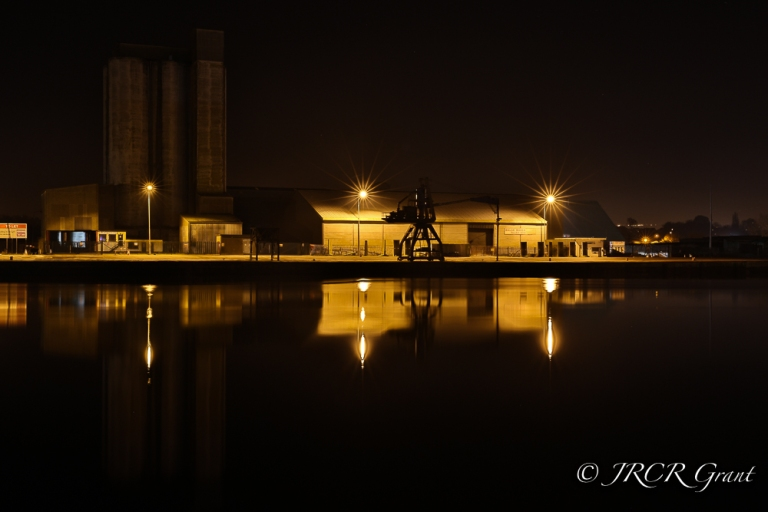 Desserted docks in Cork at nighttime