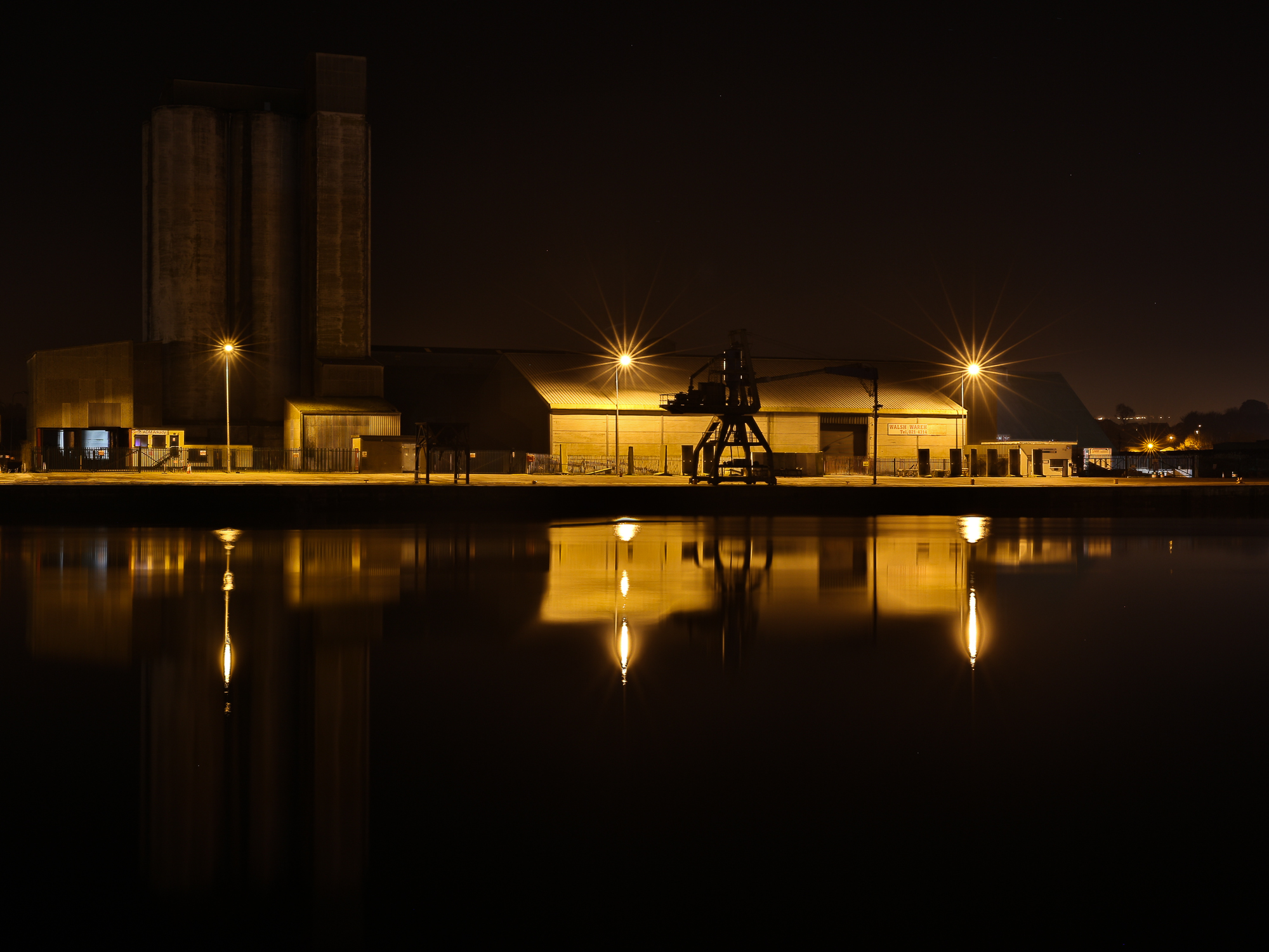 Cork docks, silent at still in the mid of night