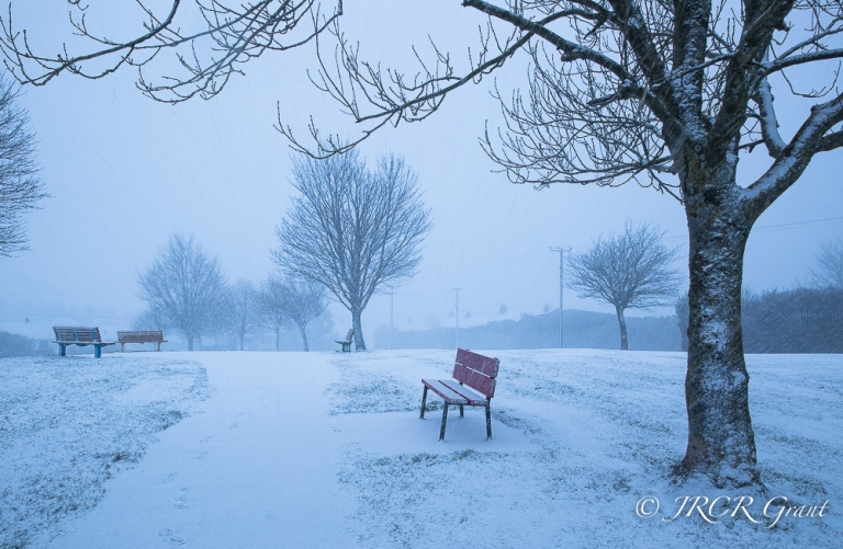 A park bench liesbare as a cold wind summons winter storms