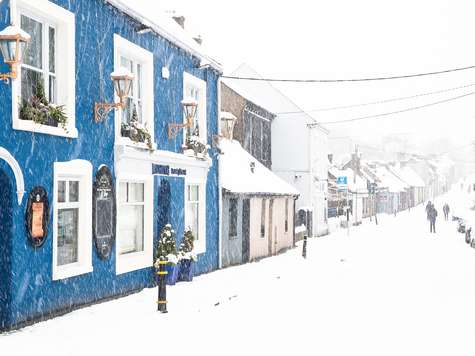 Snow falls on Blackrock Road, Ballintemple, Cork City