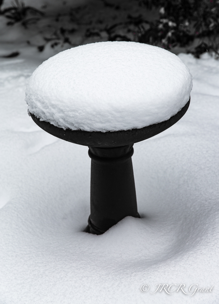 A bird bath covered in snow resembles a wedding cake