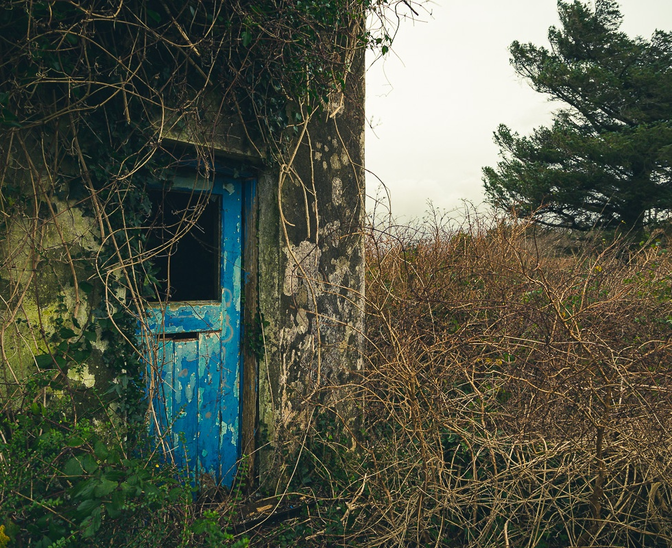 A ruin with a blue door, for sale the sign proclaims