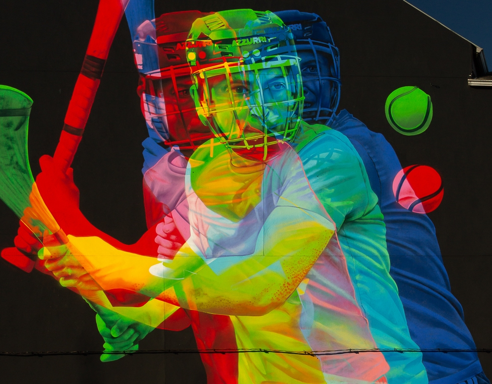 Colourful mural of hurler